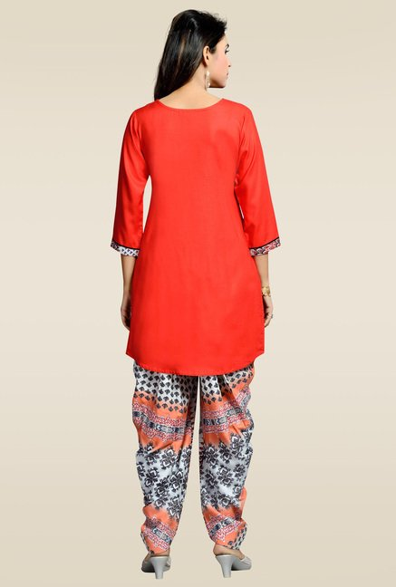 Zola Red Kurta with Printed Patiyala