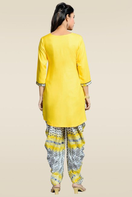 Zola Yellow Kurta with Printed Patiyala