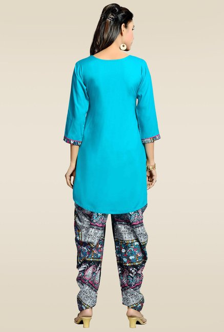 Zola Aqua Blue Kurta with Printed Patiyala