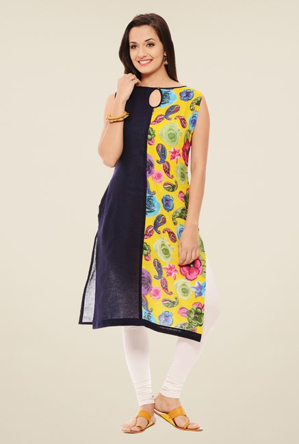 Rigo Navy & Yellow Printed Kurta