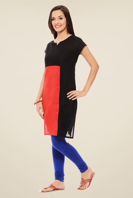 Rigo Black & Red Solid Kurti