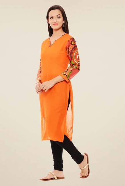 Rigo Orange Solid Kurta