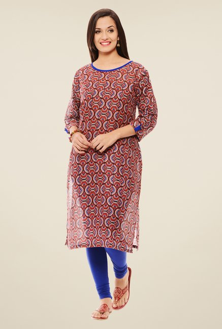 Rigo Red & Blue Printed Kurta