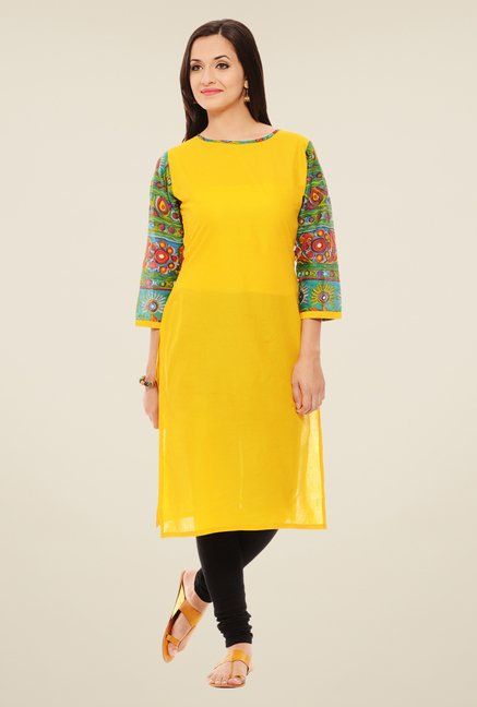 Rigo Yellow Solid Kurta