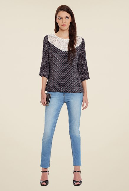 Meee Navy Printed Top