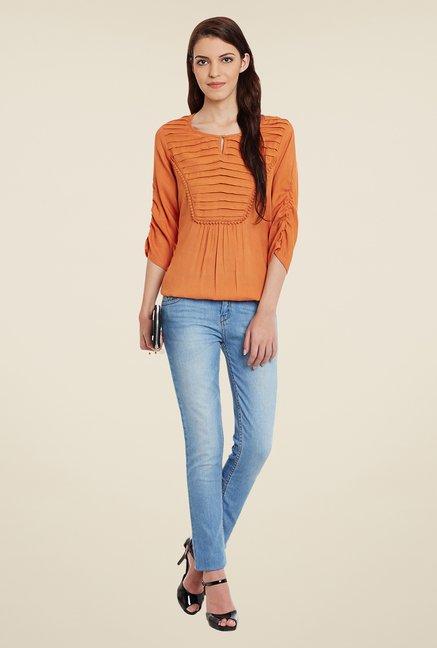 Meee Orange Solid Top