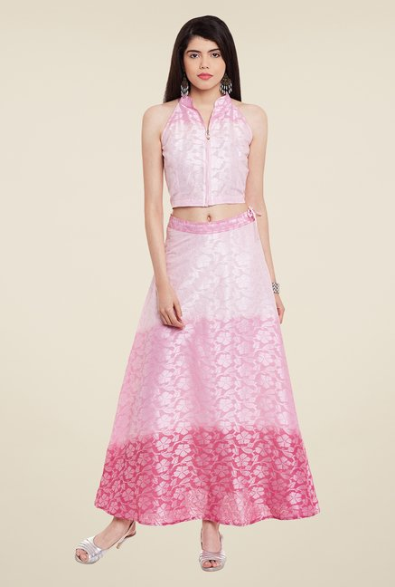 Meee Pink Self Print Skirt Set