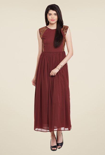 Meee Maroon Embellished Dress
