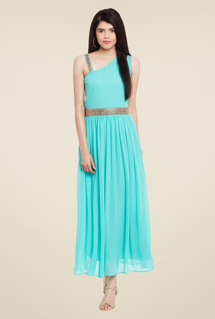 Meee Turquoise Embellished Dress