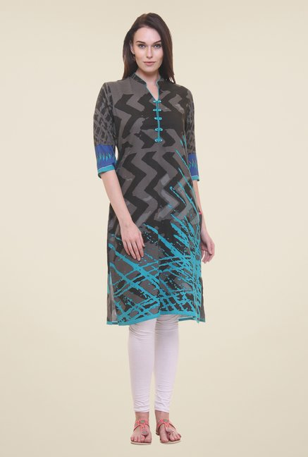 Shree Grey & Turquoise Printed Kurta