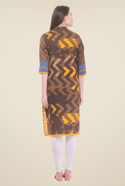 Shree Brown & Yellow Printed Kurta