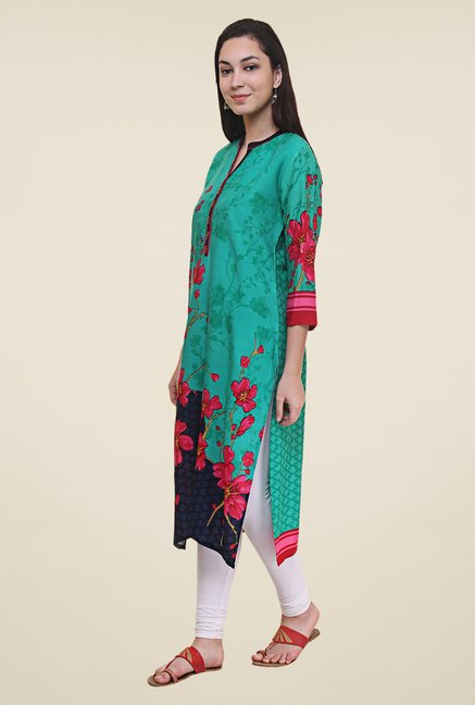 Shree Teal Floral Print Kurta