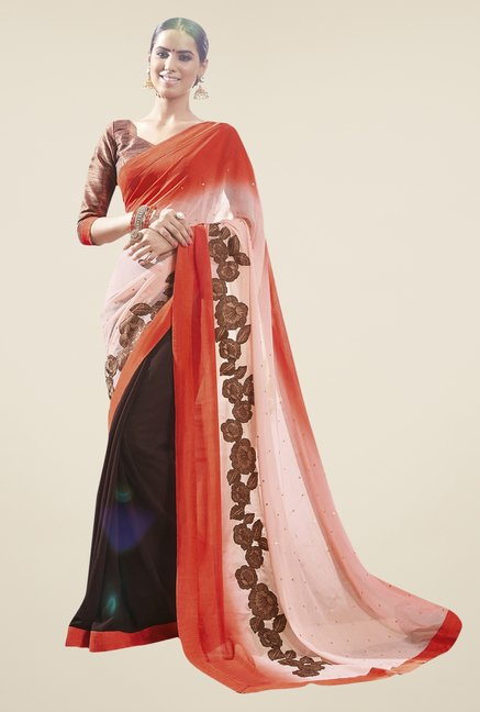Triveni Brown & Orange Chiffon Faux Georgette Saree