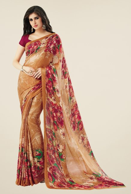 Triveni Brown Printed Crape Saree
