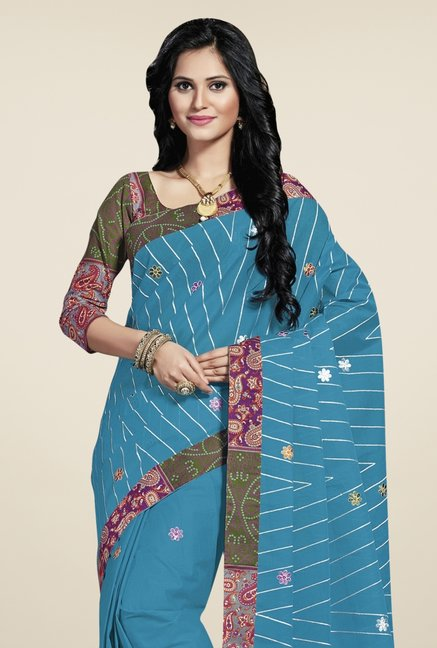 Triveni Blue Embroidered Blended Cotton Saree