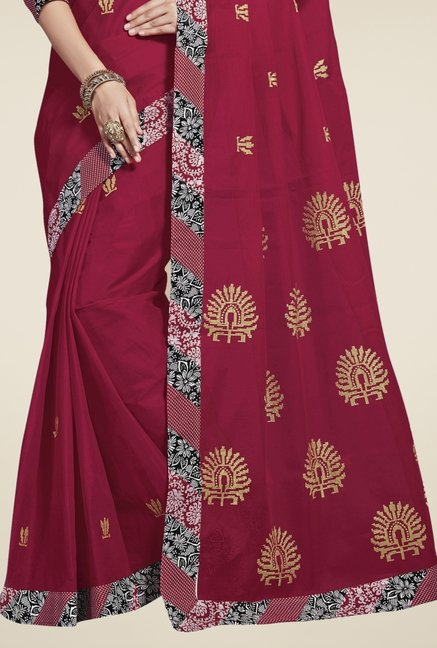 Triveni Maroon Embroidered Blended Cotton Saree