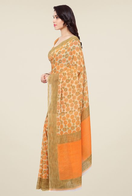Triveni Orange Printed Art Silk Saree