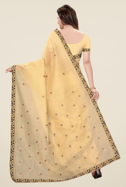 Triveni Beige & Black Embroidered Blended Cotton Saree