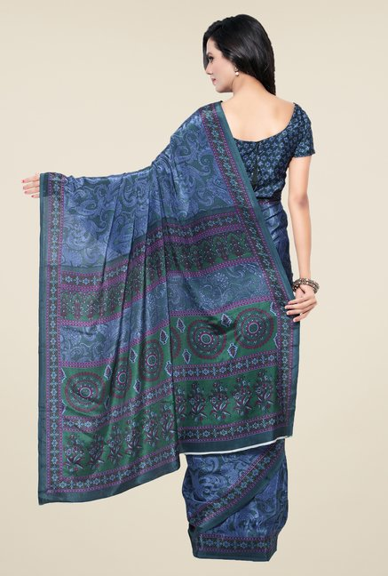 Triveni Blue Printed Crape Saree