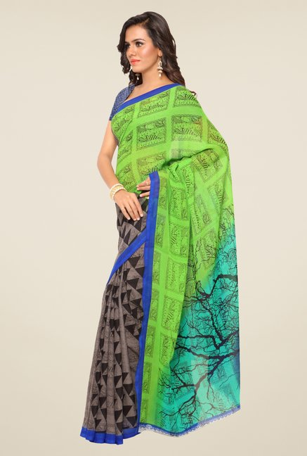 Triveni Green & Grey Printed Faux Georgette Saree