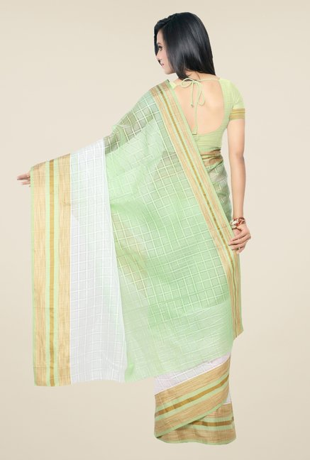 Triveni Green & White Checks Art Silk Saree
