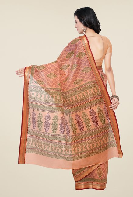 Triveni Peach Printed Art Silk Saree