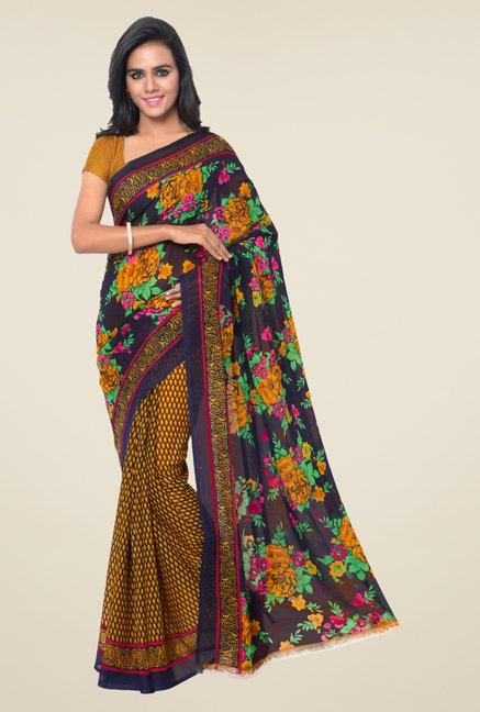 Triveni Yellow & Navy Printed Faux Georgette Saree