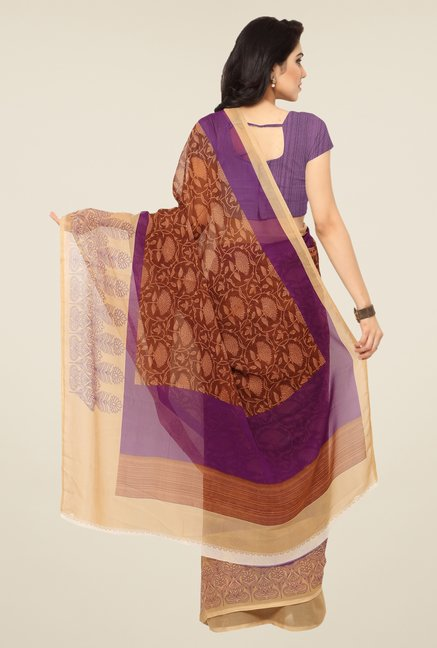 Triveni Brown Floral Print Art Silk Saree
