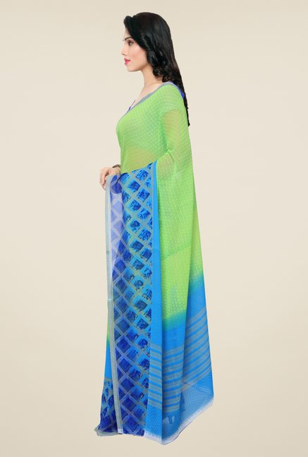 Triveni Green & Blue Printed Faux Georgette Saree