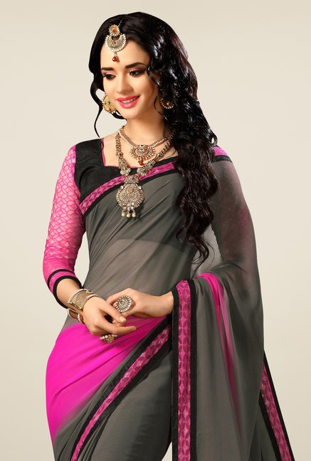 Triveni Grey & Pink Faux Georgette Saree