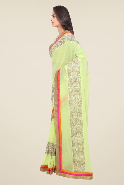 Triveni Yellow Embroidered Faux Georgette Saree
