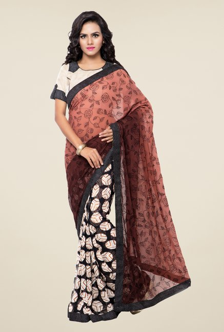 Triveni Black & Brown Printed Faux Georgette Saree
