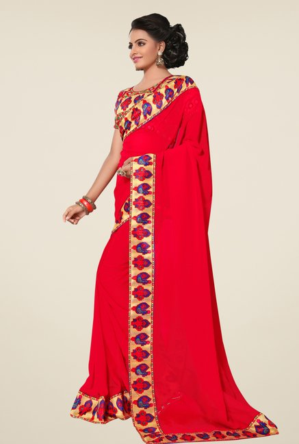 Triveni Red Faux Georgette Saree