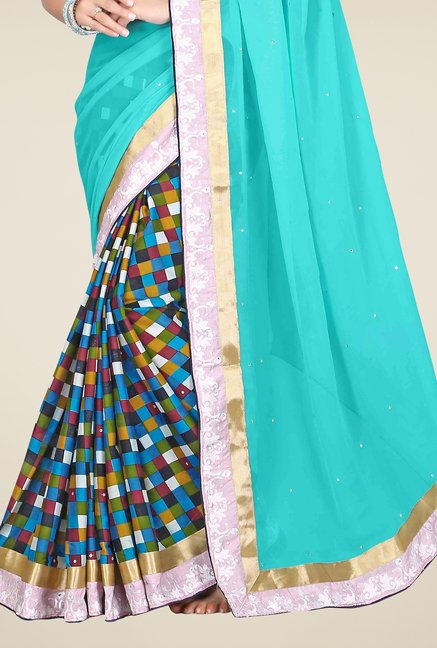 Triveni Multicolor Checks Faux Georgette Saree