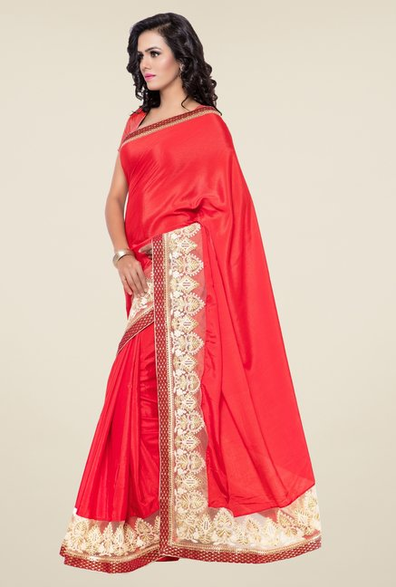 Triveni Red Embroidered Faux Georgette Brasso Art Silk Saree