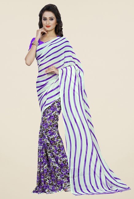 Triveni Purple Faux Georgette Half and Half Saree
