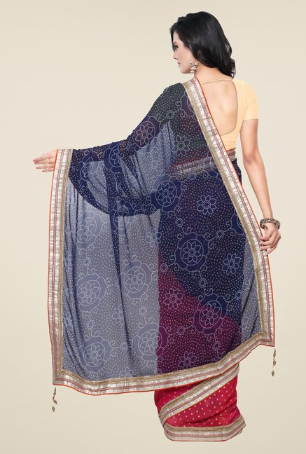 Triveni Pink & Navy Faux Georgette Half and Half Saree