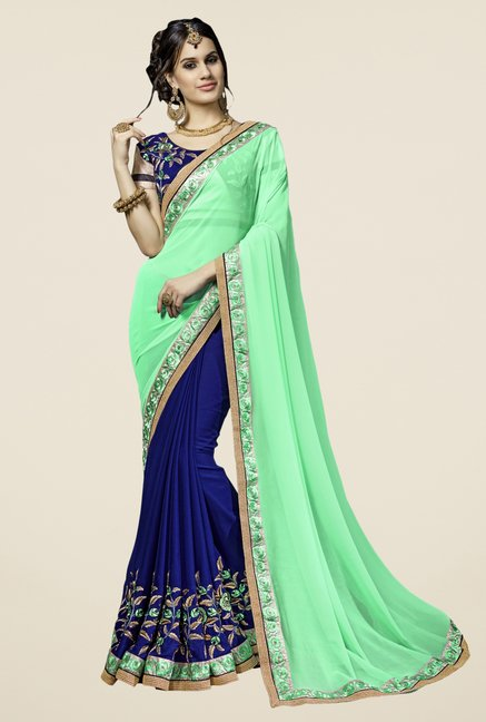 Triveni Navy & Light Green Embroidered Faux Georgette Saree