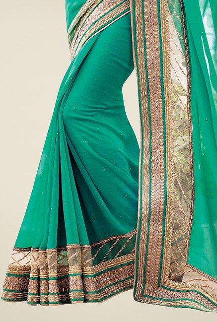 Triveni Green Embellished Faux Georgette Saree