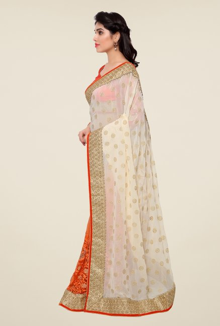 Triveni Orange & Beige Embroidered Faux Georgette Saree