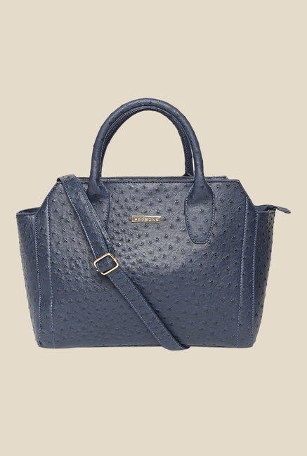 Addons Navy Rich Ostrich Embossed Handbag