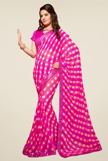 Triveni Pink Checks Faux Georgette Saree