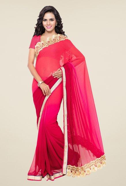 7f70aa7e856 Buy Triveni Red Faux Georgette Saree for Women Online   Tata CLiQ