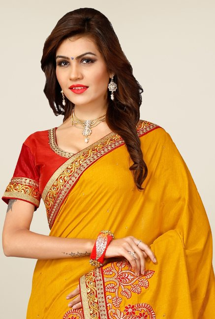 Triveni Yellow Embroidered Manipuri Silk Saree