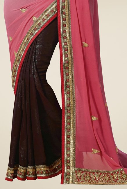 Triveni Brown & Pink Faux Georgette Shimmer Chiffon Saree