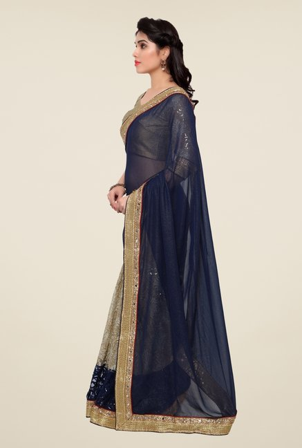 Triveni Beige & Navy Embroidered Faux Georgette Net Saree
