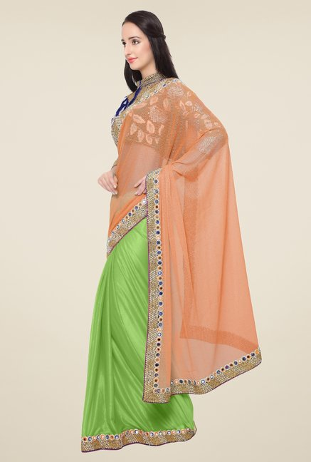 Triveni Green & Peach Embroidered Lycra Saree
