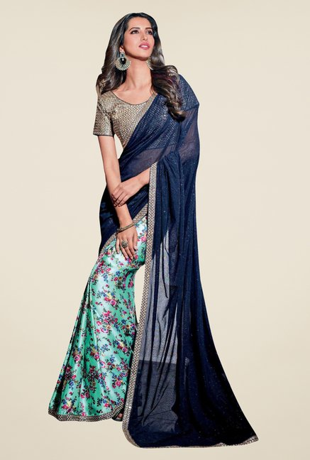 Triveni Green & Navy Floral Print Net Satin Saree