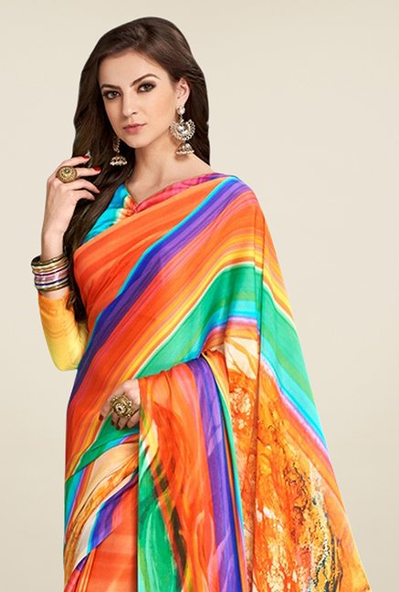 Triveni Multicolor Striped Satin Faux Georgette Saree