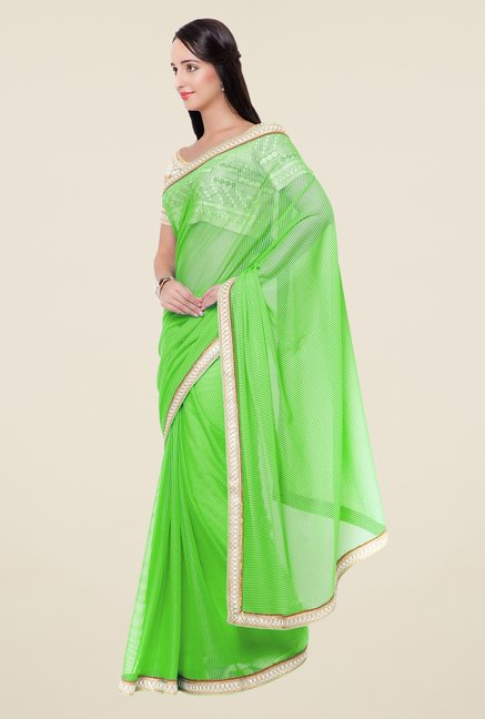 Triveni Green Self Print Lycra Saree